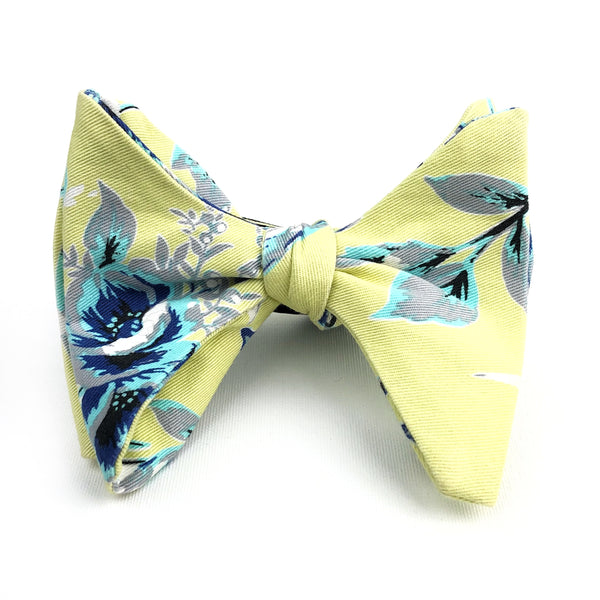 Pale Yellow Soft Blue Flowers Bow Tie