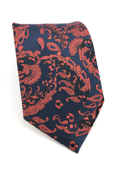 Raspberry Navy Gold Silk Tie