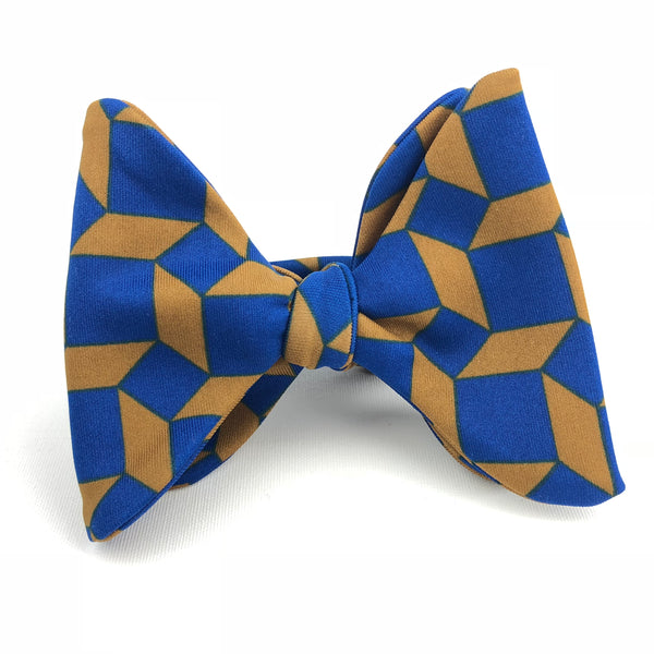 Instant Winner Deep Blue and Soft Orange Square Bow Tie