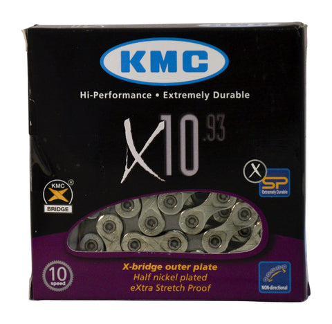 KMC X10.93 Chain: 10 speed 116 Links, Silver
