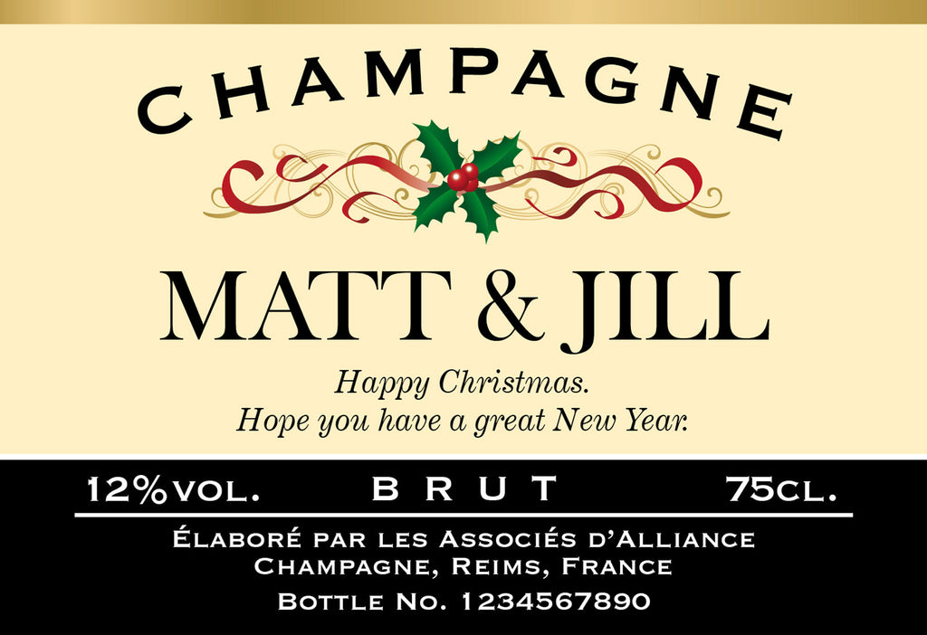Personalised Xmas Holly Luxury Champagne