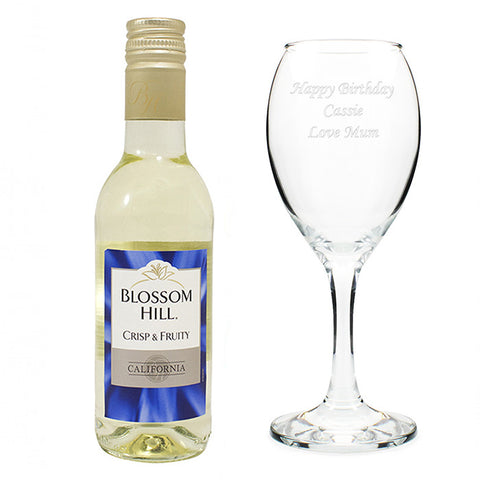 White Wine & Personalised Wine Glass