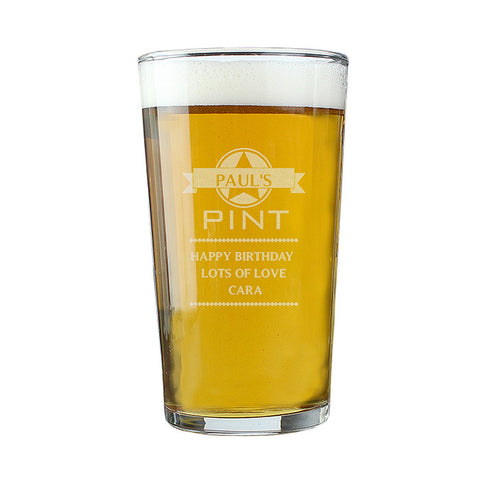 Personalised Pint Glass - Name & Message