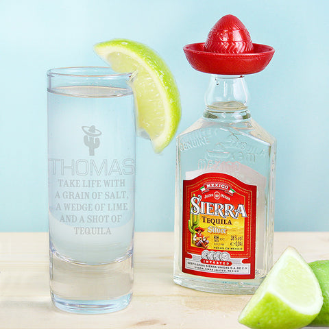 Personalised Tequila Shot Glass & Miniature