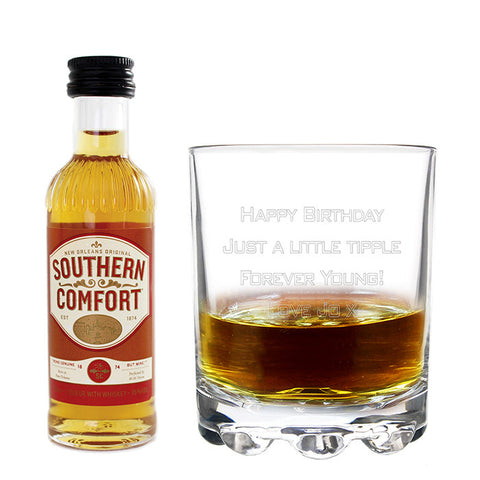 Engraved Glass & Miniature Southern Comfort