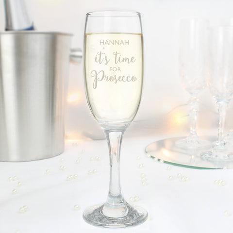 Personalised It's Prosecco Time Flute & Mini Prosecco