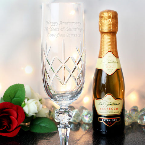 Engraved Crystal Flute & Mini Prosecco