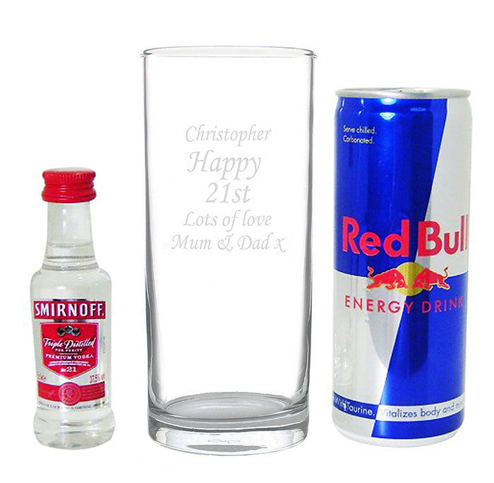 Personalised Vodka & Redbull Gift Set