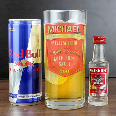 Personalised Birthday Vodka & Redbull Gift Set