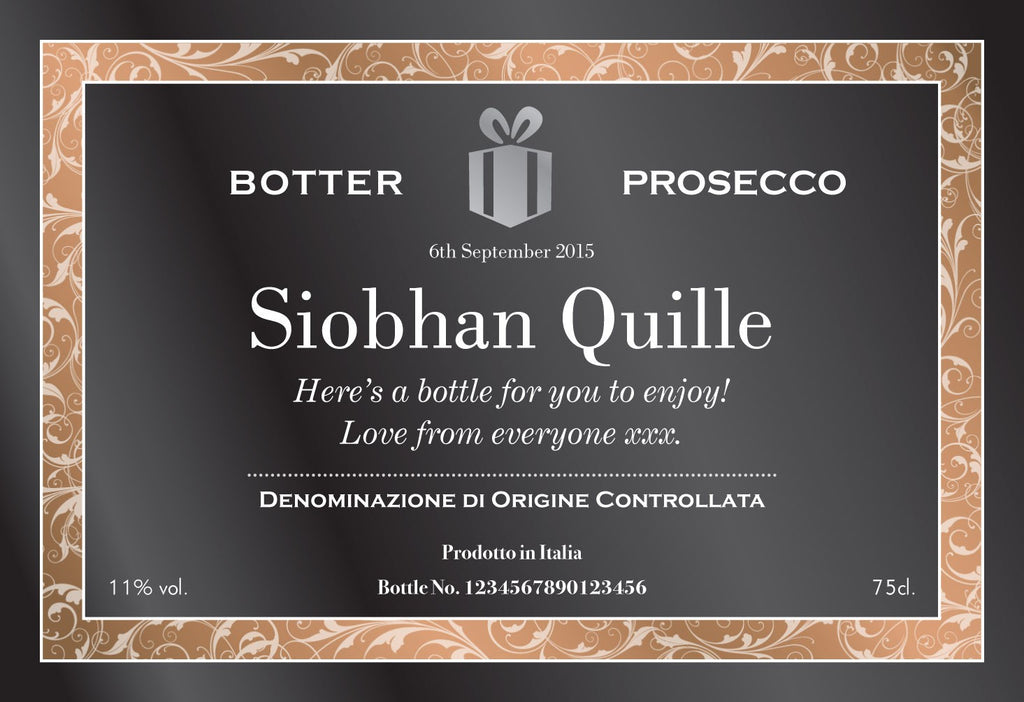 Personalised Prosecco - Black & Gold