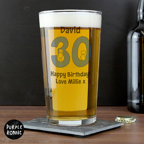 Personalised Birthday Age Pint Glass