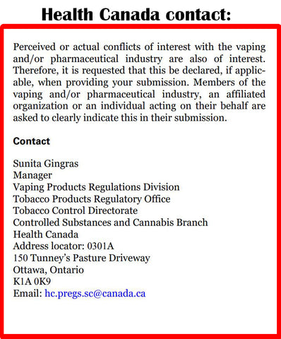 Health Canada contact information for Flavour Ban response