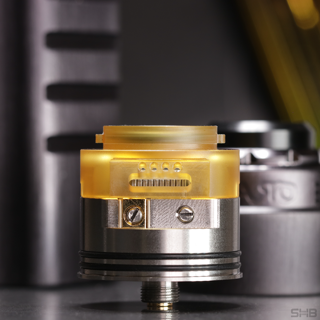 Asgard 30 mm RDA loaded with coils, side view