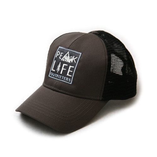 Peak Life snapback trucker hat charcoal black