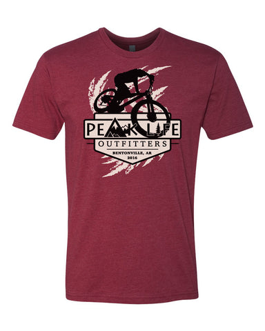 Peak Life cardinal red t-shirt cotton poly short sleeve outdoor mountain biking inspired tee