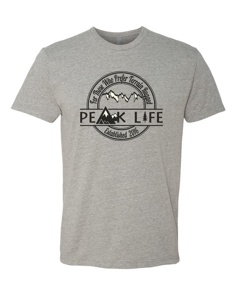 Peak Life grey t-shirt cotton poly short sleeve outdoor mountain inspired tee