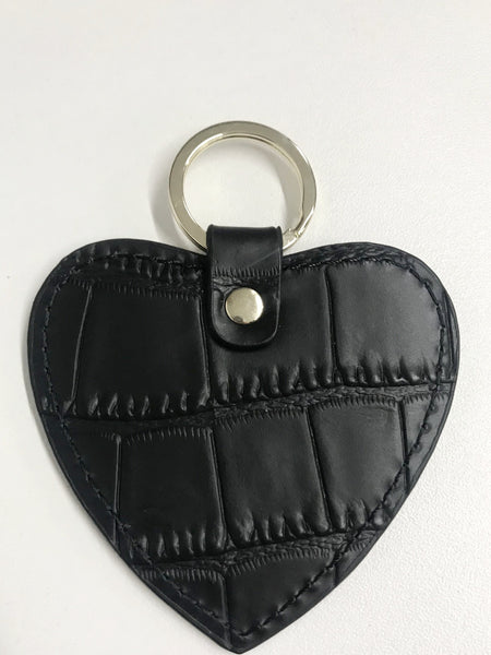 Black Croc Heart Keyring