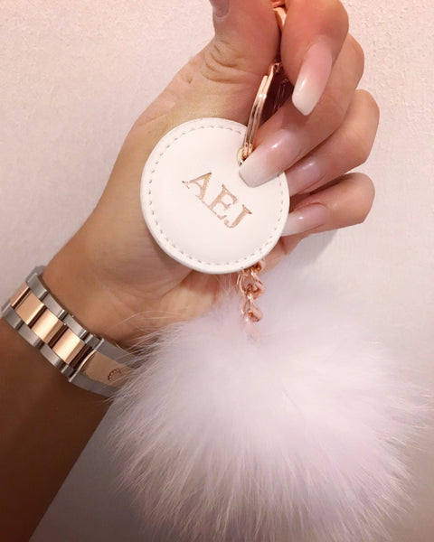 White & Rose Gold Monogram Pom