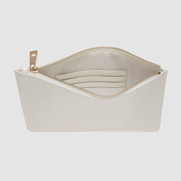 White Luxe Lizard Pouch