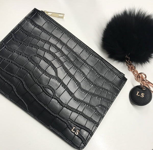 Black Pom Pom & Croc Bag Set