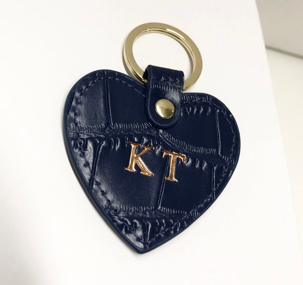 Mini Navy Croc Heart Keyring