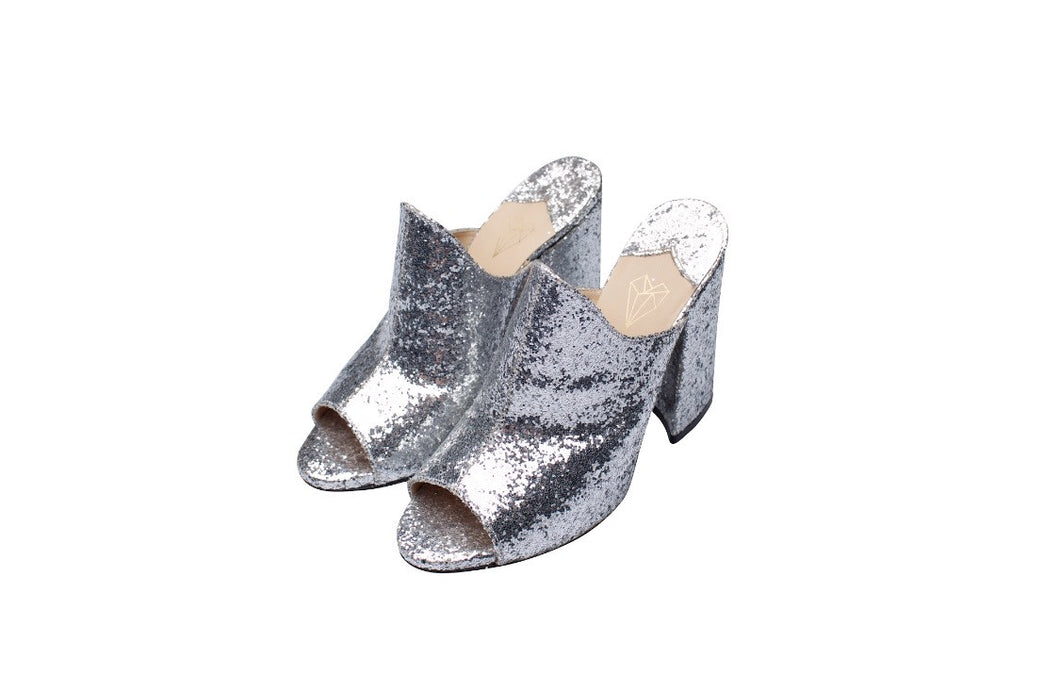 Shoes: glitter mules