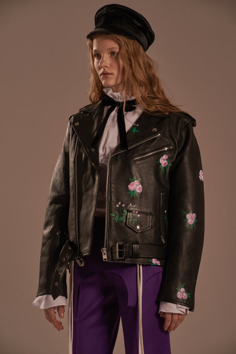 Biker leather jacket with «Dream» inscription