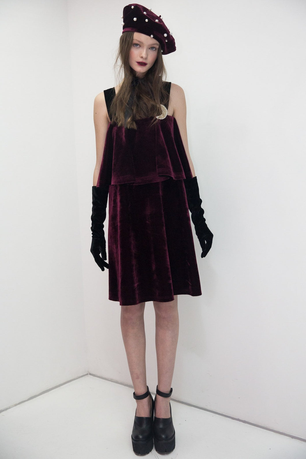 Velvet dress with basque and brooch