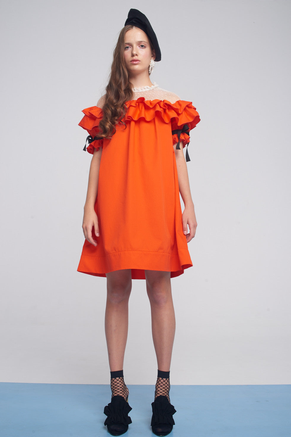 Dress with ruffled basque