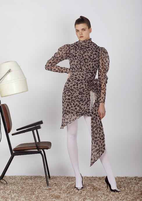 Cheetah chiffon dress