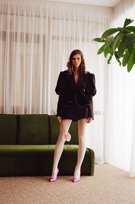 Jacket-dress with velvet basque