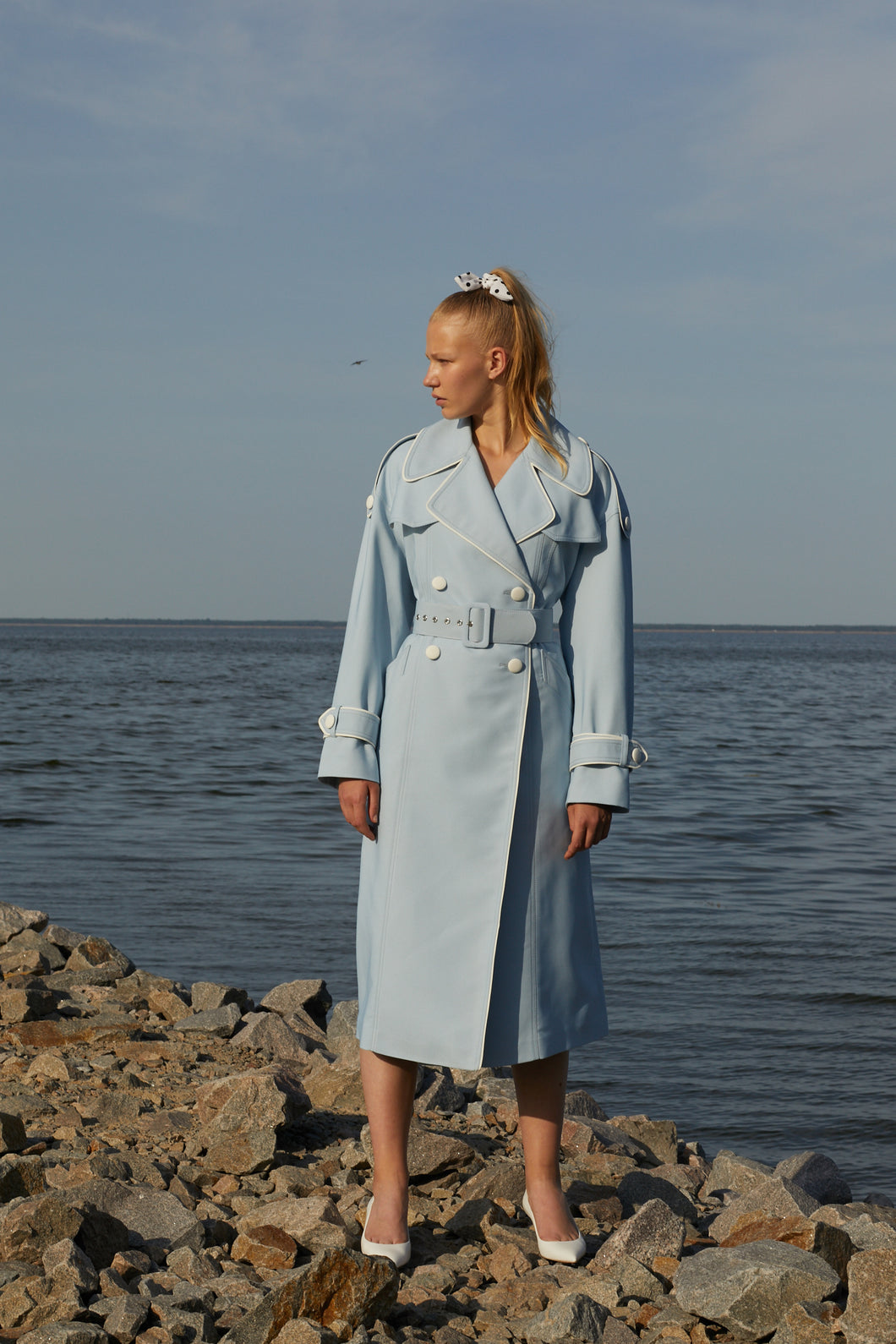 Blue lagoon trench coat