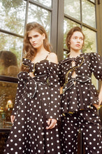 Open shoulders polka dot dress