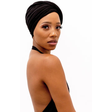 Black T-shirt Turban Wrap - BACKORDER SHIPS 1/1