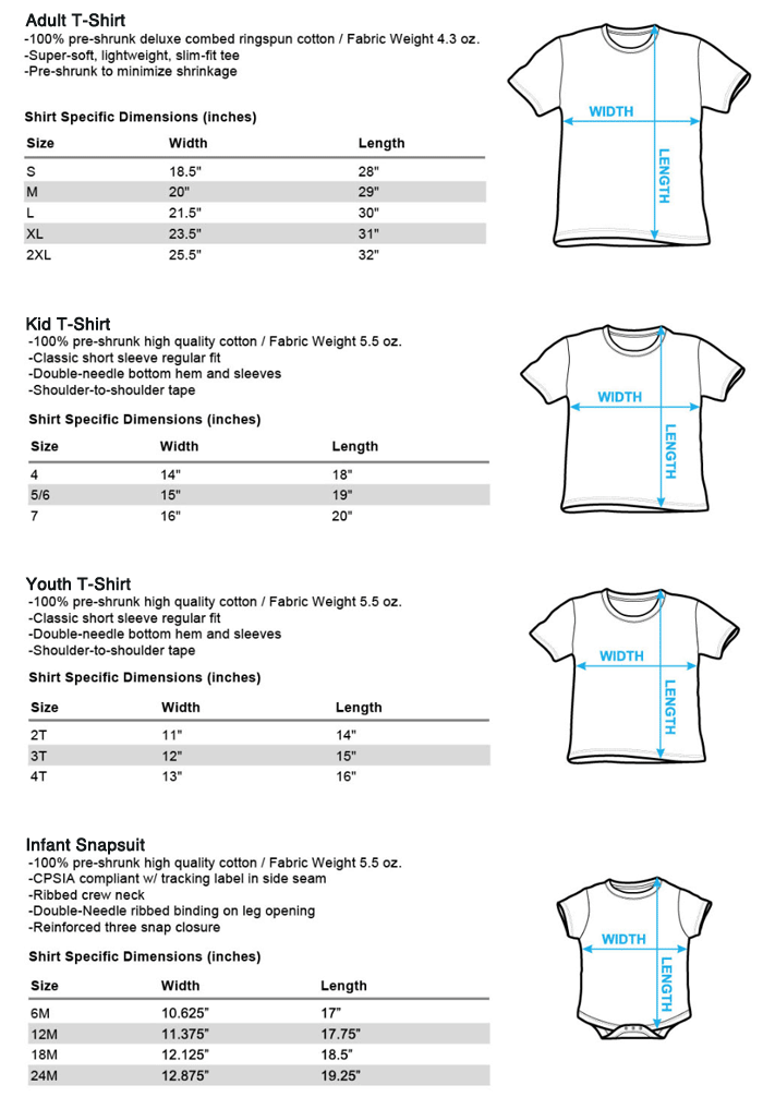 Chicago Park Store T-Shirt Sizing