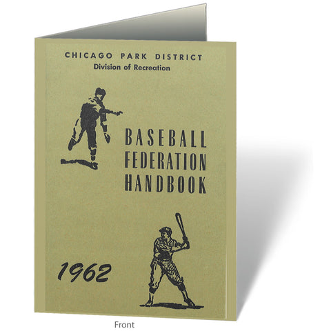 Baseball Handbook 1962 Notecard Chicago Park District
