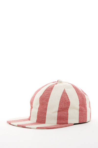 ARGOT X BASE MFG ONE PIECE STRIPED CHAMBRAY CAP RED