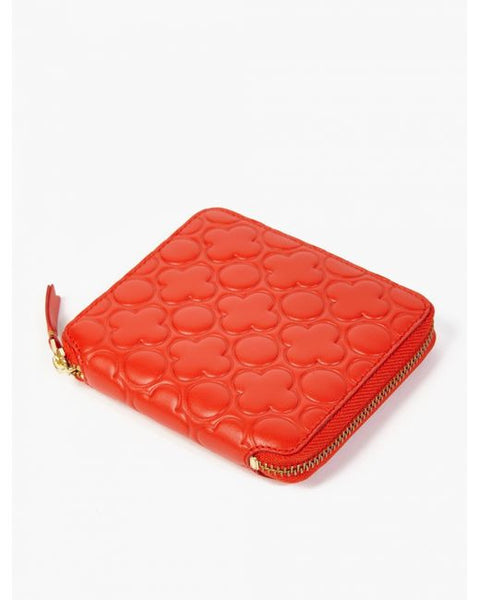 COMME DES GARCONS EMBOSSED ZIP AROUND WALLET ORANGE