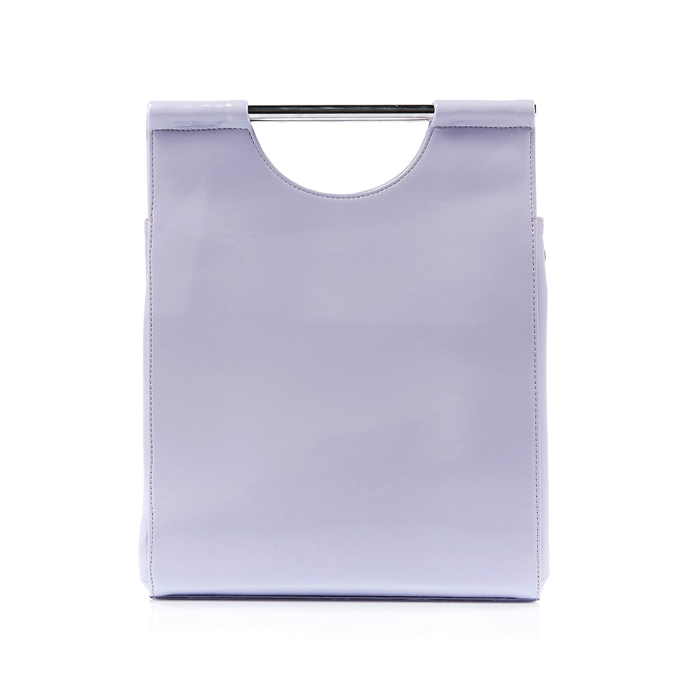 Structured Tote Bag Lavender Patent