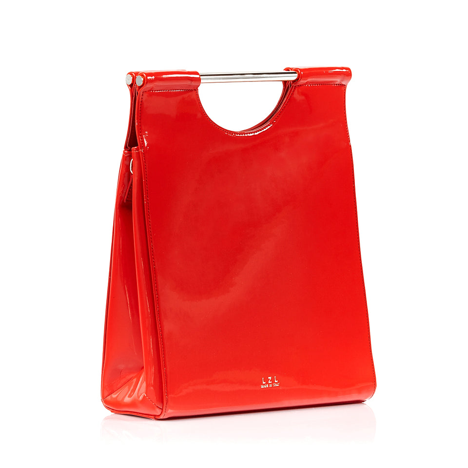 Structured Tote Bag Red Patent
