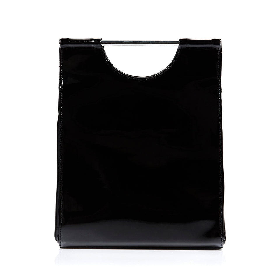 Structured Tote Bag Black Patent