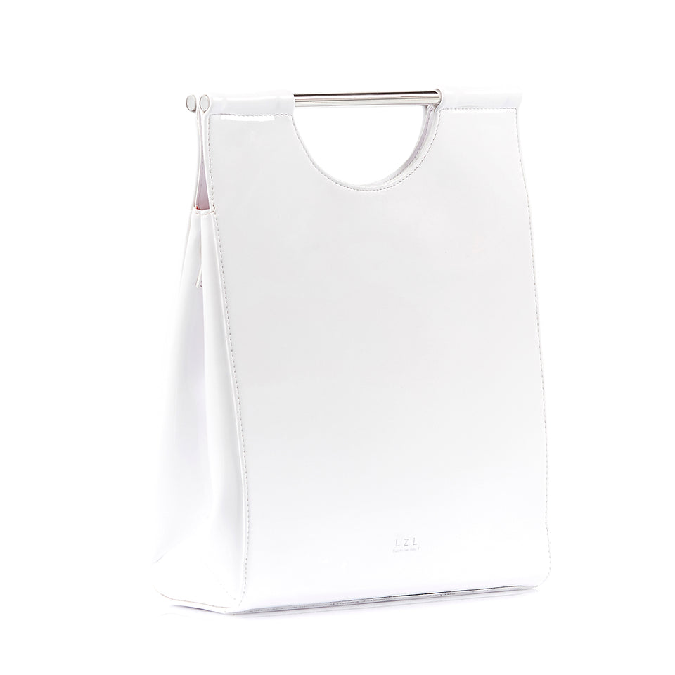 Structured Tote Bag White Patent