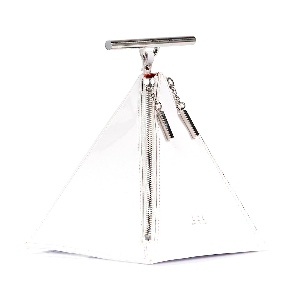 Pyramid Bag White Patent