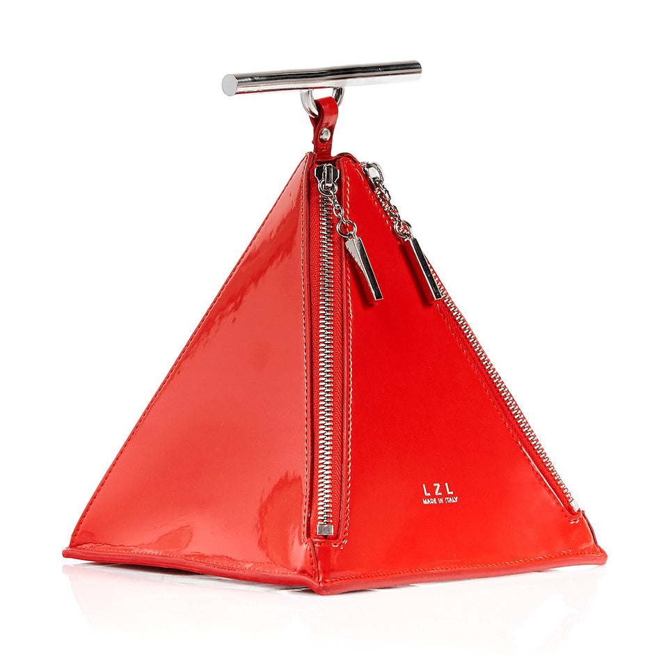 Pyramid Bag Red Patent