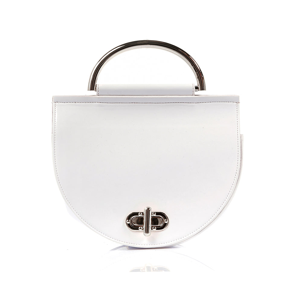 Saddle Bag White Patent