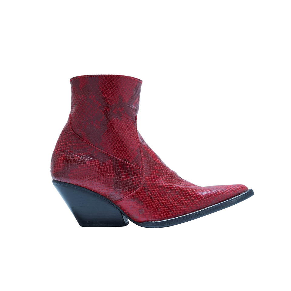 WESTERN BOOT- RED SNAKE SKIN