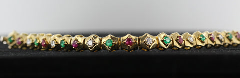 Ruby, Emerald & Diamond Bracelet 18kt Yellow Gold