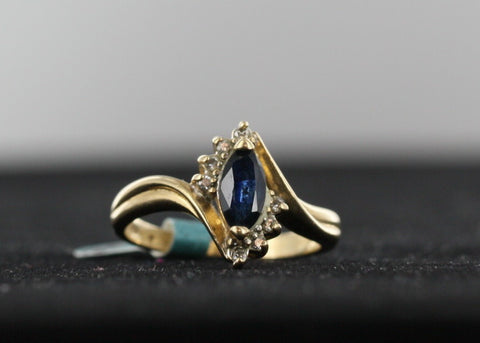 Marquise Cut Blue Sapphire With Diamond Accents