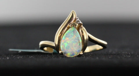 Pear Shape Opal Ring with Brilliant Color
