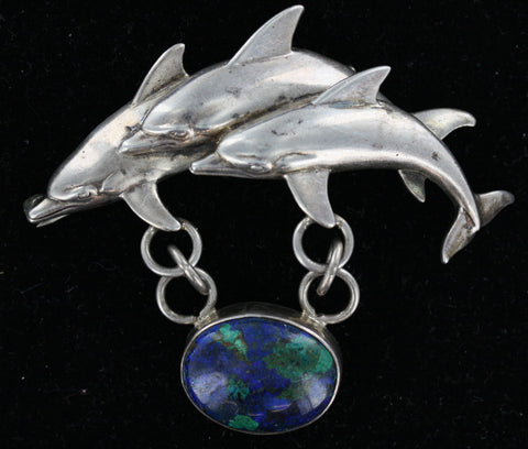 3 Dolphins Silver Brooch Pin With Pendant